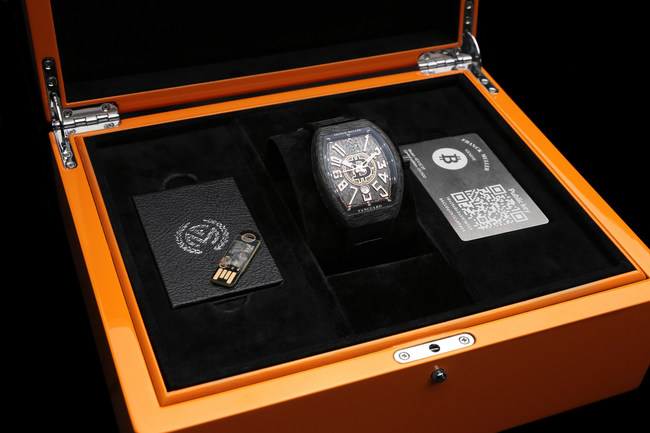 "Each timepiece comes as a two piece ""Deep Cold Storage"" set, with its own unique public address etched on the dial and a sealed USB containing the private key"