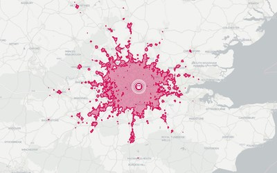 Using the TravelTime API to see where's reachable within 60 minutes travel time from London Waterloo using public transport at 9am