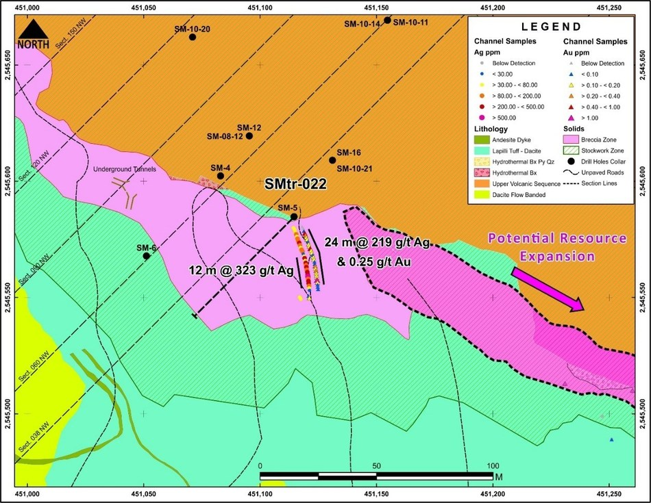 Figure 4 Location of SMtr-022 Trench – SE Extension of San Marcial Resource Area (CNW Group/Goldplay Exploration Ltd)