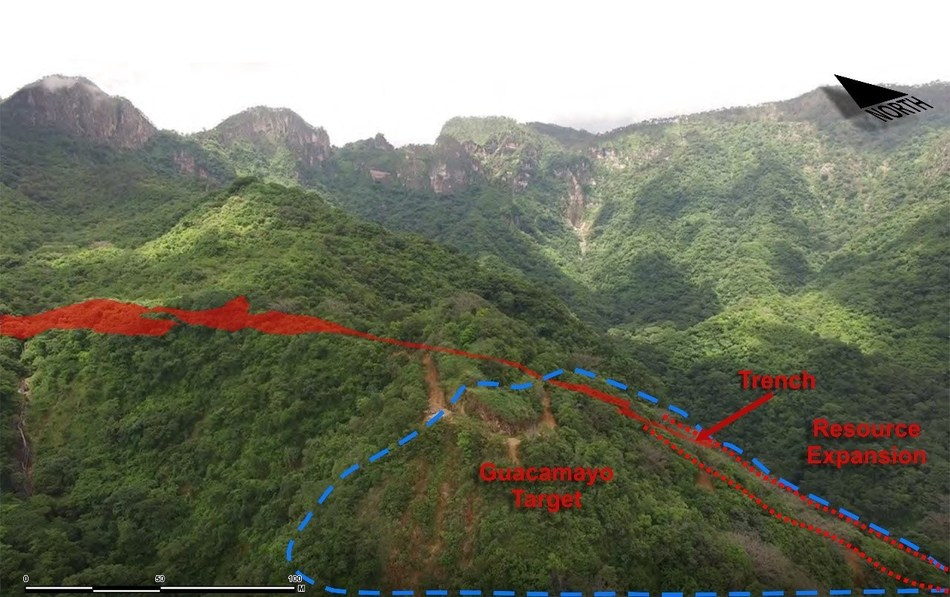 Figure 3 Aerial view - Guacamayo Target and Resource Area (CNW Group/Goldplay Exploration Ltd)