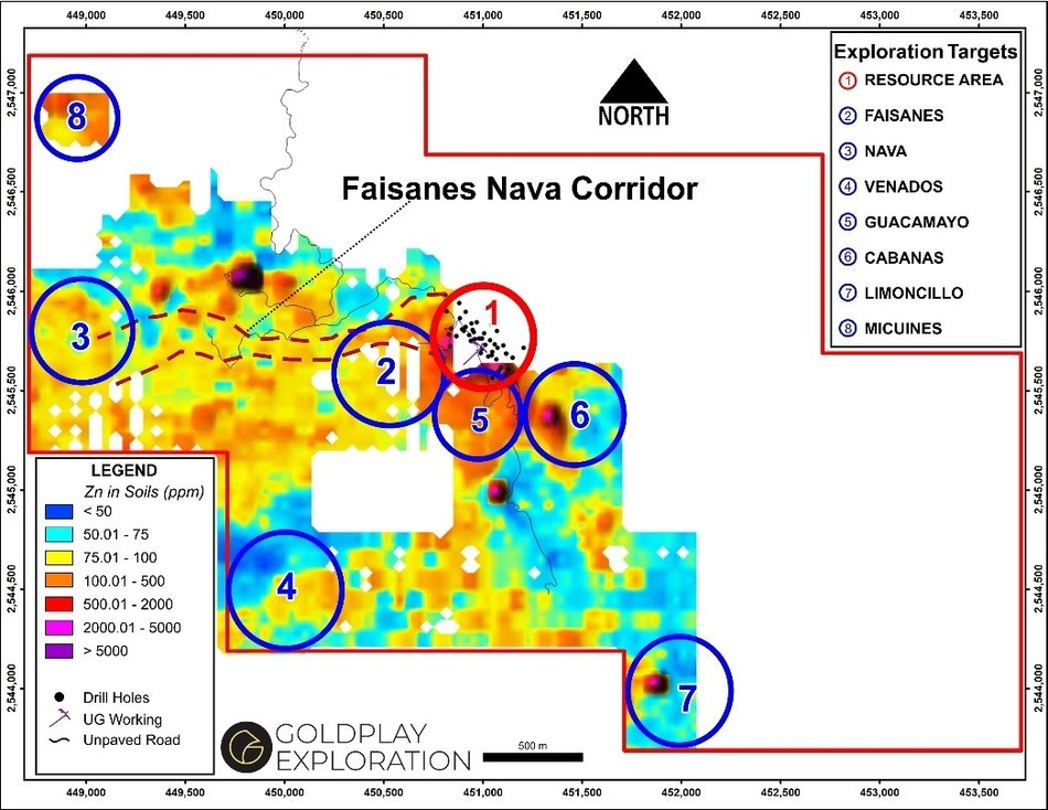 Figure 1 Location of Guacamayo Target (5) and San Marcial Resource Area (CNW Group/Goldplay Exploration Ltd)