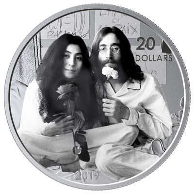 The Royal Canadian Mint's silver collector coin celebrating 50 years since Give Peace A Chance was recorded at Montreal's Queen Elizabeth Hotel