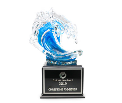 Footprint recognizes environmental leaders with its Footprint Hero award. The one-of-a-kind trophy is designed and created by David Wight. www.DavidWightGlassArt.com