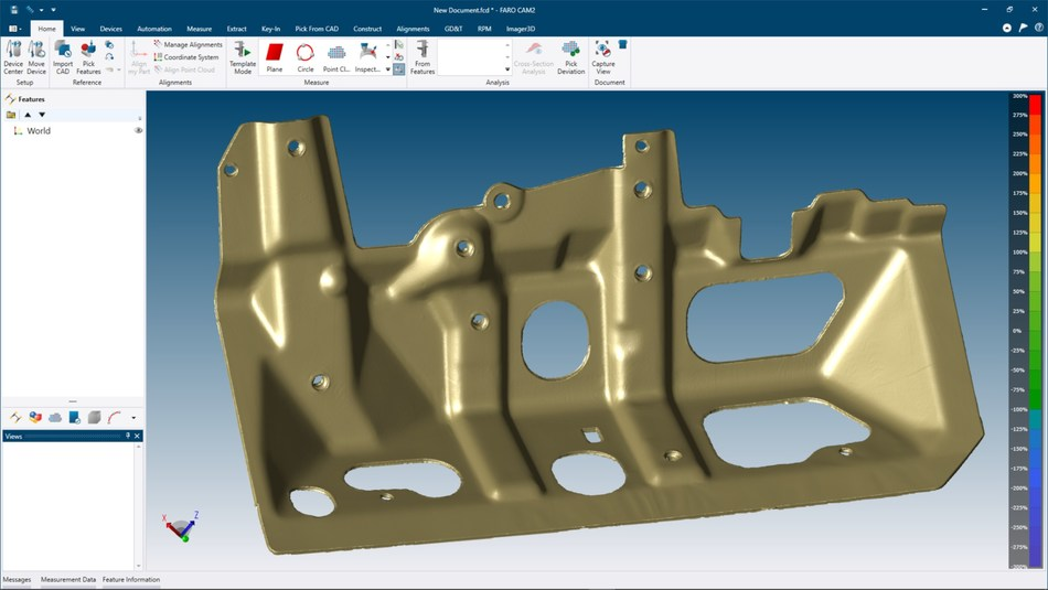 FARO CAM2 2019 mesh generation capabilities produce visually-appealing and metrology-grade STL files that can be trusted when measuring to a golden part.