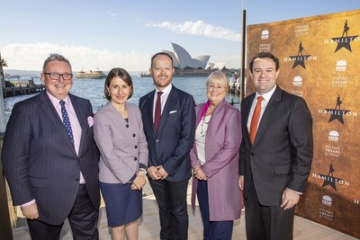 Hamilton announced for Sydney 2021 – (from left) Minister for the Arts Don Harwin, Premier Gladys Berejiklian, Producer Michael Cassel, Destination NSW CEO Sandra Chipchase, and Minister for Tourism Stuart Ayres
