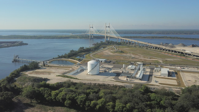 Aerial view of the JAX LNG facility located near Dames Point, Jacksonville, Fla.