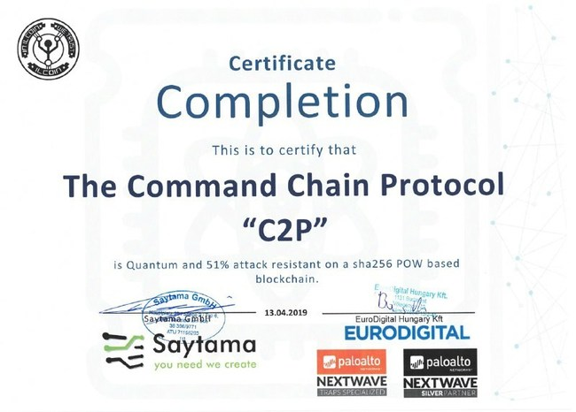 The certificate from Palo Alto Networks Partner that the innovative C2P (command chain protocol) has successfully passed a cyber security audit, which confirmed 51% attack and quantum resistance.