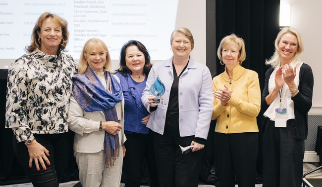 "Pictured left to right: Theo Schwabacher; Dr. Nola Masterson; Una Ryan; Caitlin Cameron, chair and CEO of OtoNexus, winner of WCD's Launch Zone; Mary Jo Potter; and Bodil ""Bo"" Arlander."
