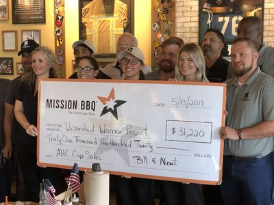 MISSION BBQ donated $31,220 to Wounded Warrior Project® (WWP) at MISSION BBQ's Orange Park location in Jacksonville, Florida. The donation is a result of a campaign at two locations where $2 from every American Heroes Cup sold supported wounded warriors.
