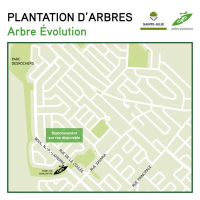 Lieu du point de presse et départ de la plantation (Groupe CNW/Ville Sainte-Julie)