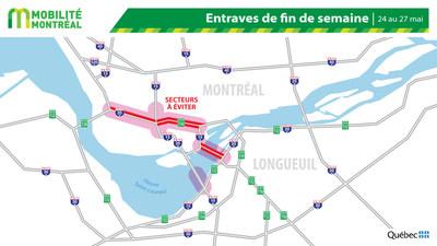 Carte générale des entraves, fin de semaine du 24 mai (Groupe CNW/Ministère des Transports)