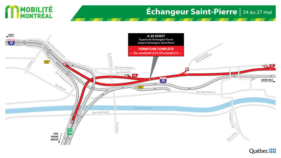 Fermeture A-20 ouest – échangeur Saint-Pierre, fin de semaine du 24 mai (Groupe CNW/Ministère des Transports)