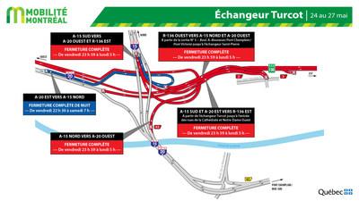 Fermetures dans l'échangeur Turcot, fin de semaine du 24 mai (Groupe CNW/Ministère des Transports)