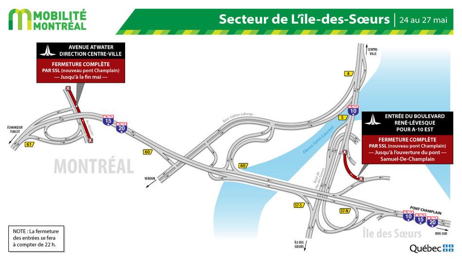 Fermetures secteur Île des Sœurs / SSL, fin de semaine du 24 mai (Groupe CNW/Ministère des Transports)