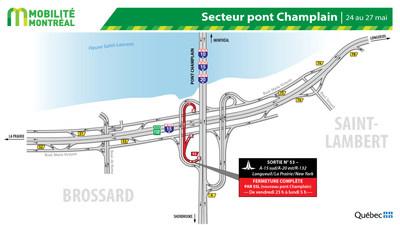 Fermeture secteur pont Champlain à Brossard, fin de semaine du 24 mai (Groupe CNW/Ministère des Transports)
