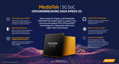 MediaTek's groundbreaking 5G chipset, a multi-mode, 7nm 5G system-on-chip (SoC) designed to power the first wave of high-end  5G smartphones.