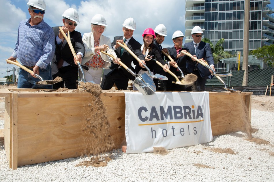 Owners and developers Jai and Jessica Motwani of Hotel Motel Inc. join representatives from Choice Hotels, Marquis Bank, and Seawood Builders to break ground on the Cambria Hotel Fort Lauderdale Beach.  Photo Credit: Patty Daniels Photography