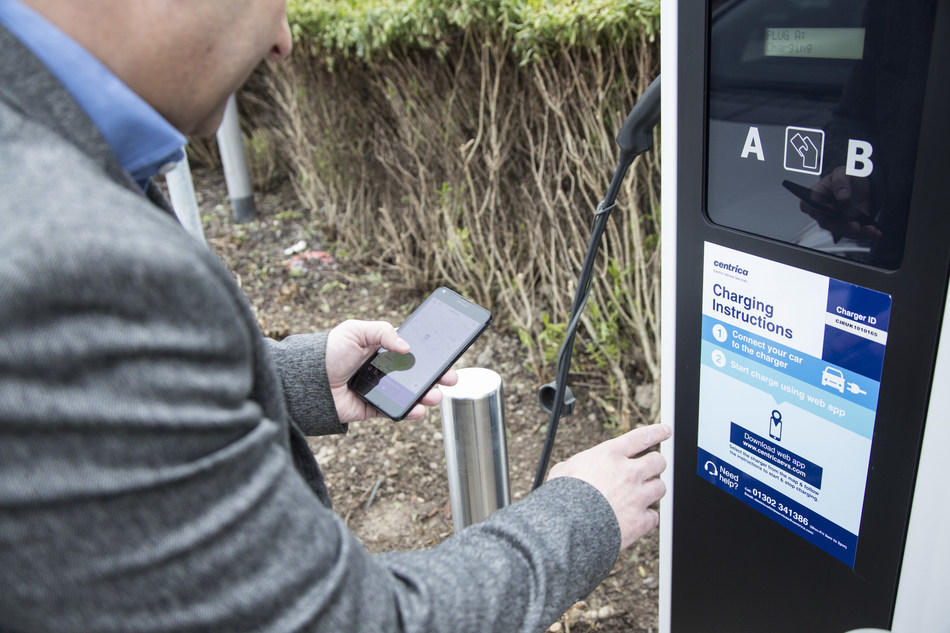 Centrica will integrate new EV chargers with existing energy infrastructure and local energy management services to help businesses manage their growing fleet in the smartest, most efficient way. (PRNewsfoto/Centrica)