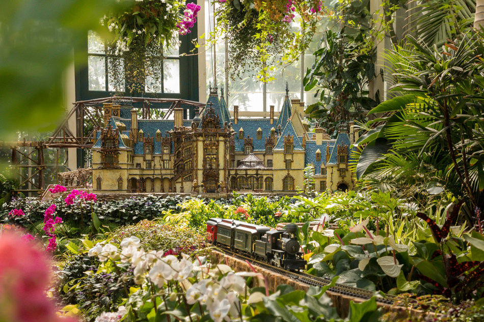 A miniature replica of Biltmore House made with natural materials for Biltmore Gardens Railway, a model train exhibition at Biltmore through September 29, 2019. Photo Credit: The Biltmore Company