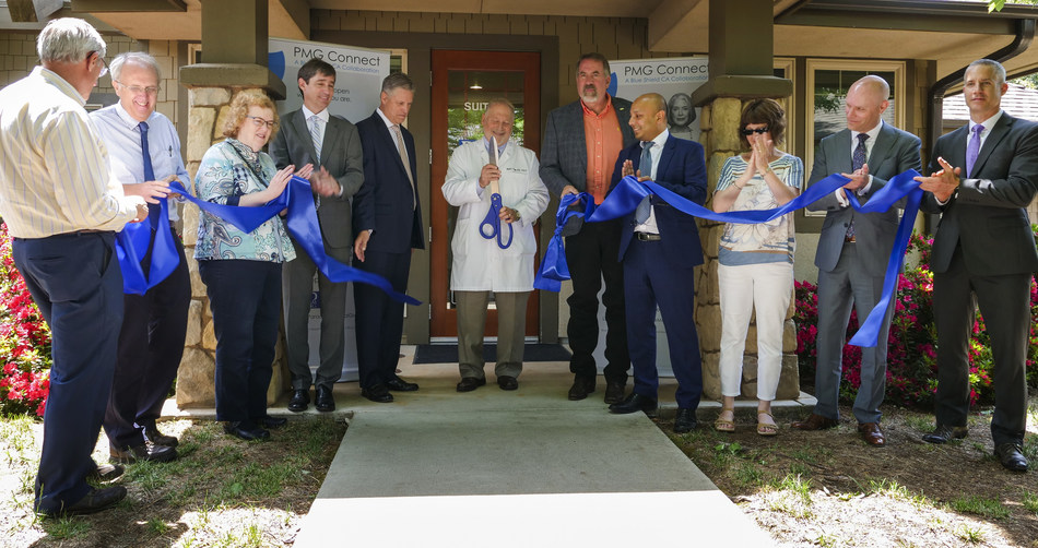 With support from Blue Shield of California, Paradise Medical Group (PMG) has returned to Paradise after 2018's deadly fire. Left to right: PMG patient Bradford Ogden, Richard Turner, M.D., Susan Mallory, M.D., Jason Vance, M.D., James Logan, M.D., Richard Thorp, M.D., Rep. Doug LaMalfa, Blue Shield of California Vice President Robin Singh, M.D., Paradise Mayor Jody Jones, California Medical Association CEO Dustin Corcoran and Teladoc Health Vice President Chad Baugh cut the ribbon on May 24, 2019