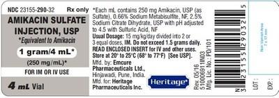 Amikacin Sulfate Injection USP 1 g/ 4 mL (250 mg/ml) Vial Label
