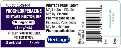 Prochlorperazine Edisylate Injection USP 10 mg/ 2mL Vial Label