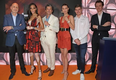Stephane Bianchi, CEO of the LVMH Watchmaking Division and CEO of TAG Heuer, Winnie Harlow, Patrick Dempsey, Bella Hadid, Max Verstappen and Frederic Arnault, TAG Heuer Chief Stategy and Digital Officer attend an intimate dinner hosted by TAG Heuer kicking off the Monaco Formula 1 Grand Prix weekend by unveiling the Monaco 1969-1979 Limited Edition, the first of five new M! onaco col lector timepieces celebrating the 50th anniversary of the iconic watch, on May 24, 2019 in Monaco.