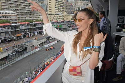 Bella Hadid celebrates 50 Years of the Monaco Watch at the Formula 1 Grand Prix De Monaco, the legendary event that gave the watch its name in 1969, on May 26, 2019 in Monaco.