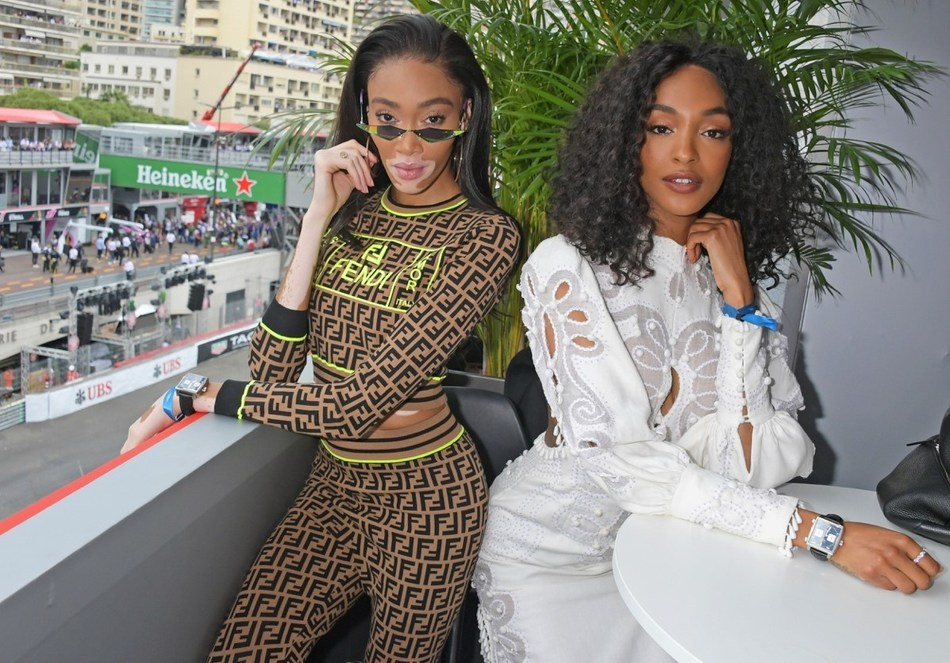 02d4113207c Winnie Harlow and Jourdan Dunn celebrate 50 Years of the Monaco Watch at  the Formula 1