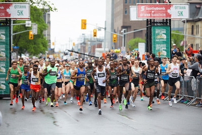 The sun was shining for the 45th edition of the Scotiabank Ottawa Marathon, with 3,500 taking part.  Credit: Run Ottawa (CNW Group/Scotiabank)