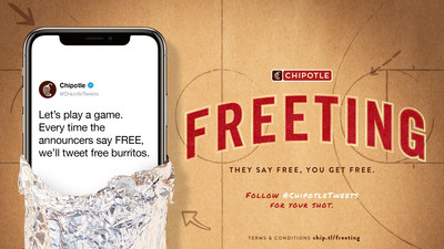 "Chipotle will be ""freeting"": live Tweeting a unique code good for the chance to score a free burrito from @chipotletweets."