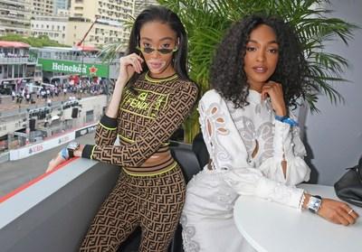 Winnie Harlow e Jourdan Dunn celebram 50 anos do relógio Monaco no Grande Prêmio de Mônaco de Fórmula 1, o lendário evento que deu ao relógio seu nome em 1969, em 26 de maio de 2019, em Mônaco.