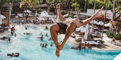 Making a splash from the highest diving platform in Bali