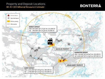 Property and Deposit Locations - NI 43 101 Mineral Resource Estimate (CNW Group/Bonterra Resources Inc.)