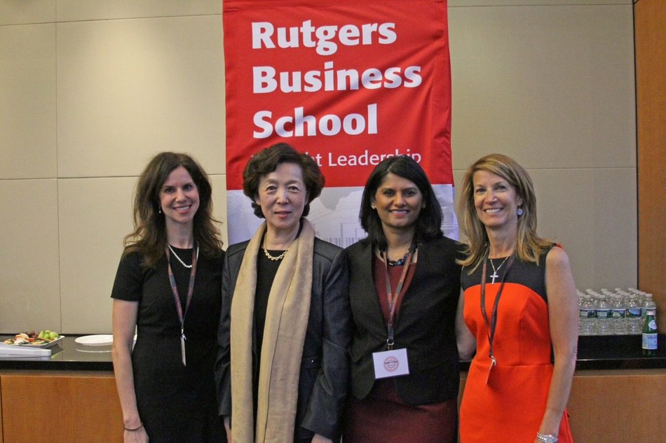 Rutgers Business School Dean Lei Lei (second from left) with several of the women instrumental in launching a new initiative to empower students and alumni.