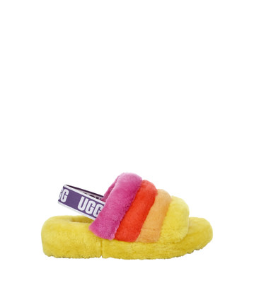 UGG Pride Collection - Fluff Yeah Slide in Pride Rainbow Yellow