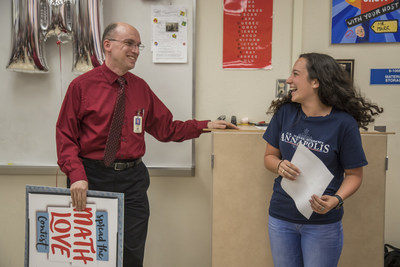 Texas Instruments today surprised the winner of the Spread the Math Love contest, Calculus teacher Glenn Marr from Park Vista Community High School, just outside of Palm Beach, Florida. High school senior Faith Southwick, who is the first person in her school's history to receive an appointment to the U.S. Naval Academy, nominated Mr. Marr for inspiring her love of math and helping to facilitate her military career.