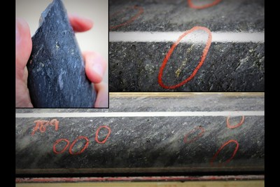 Figure 5: Images of coarse disseminated gold from drill hole DNW-011.  Host rock is quartz crystal lapilli tuff in the footwall of the LP Fault.  Images from the Silicified Zone.  Mineralization depicted in these photos is from two selective intervals and is not necessarily indicative of mineralization on the property. (CNW Group/Great Bear Resources Ltd.)