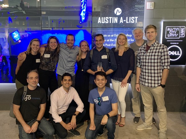 OJO Labs, a leading-edge technology company on a mission to empower consumer decision-making through its conversational AI assistant, OJO, won the highly coveted 2019 A-List Award among mid-sized companies from the Austin Chamber of Commerce in partnership with SXSW.