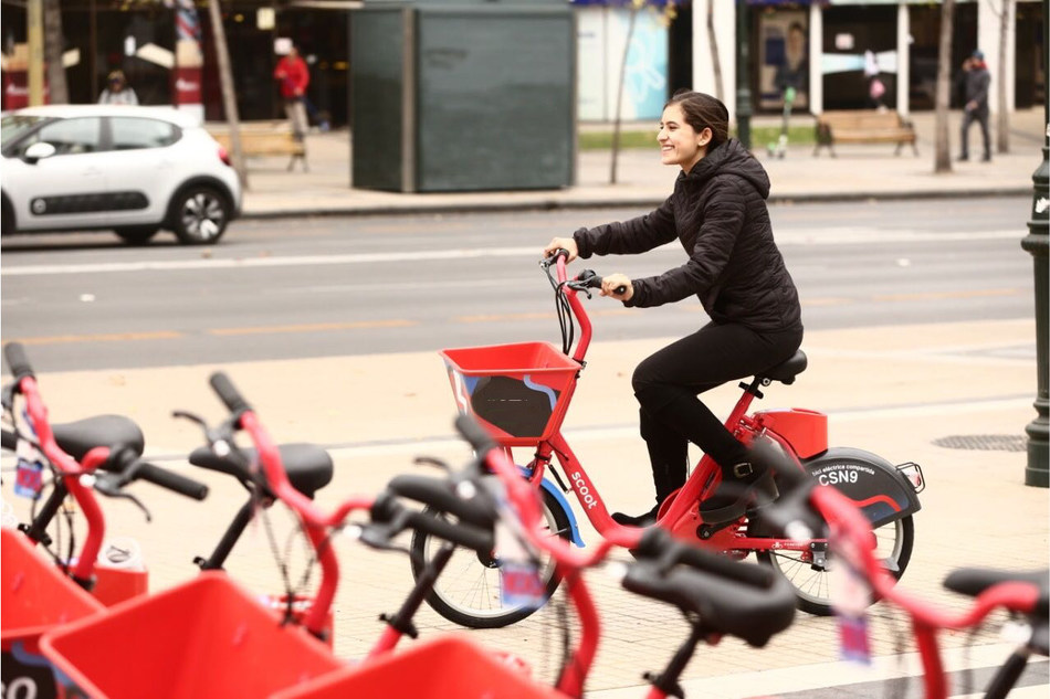 Rider on new Scoot ebike in Santiago, Chile