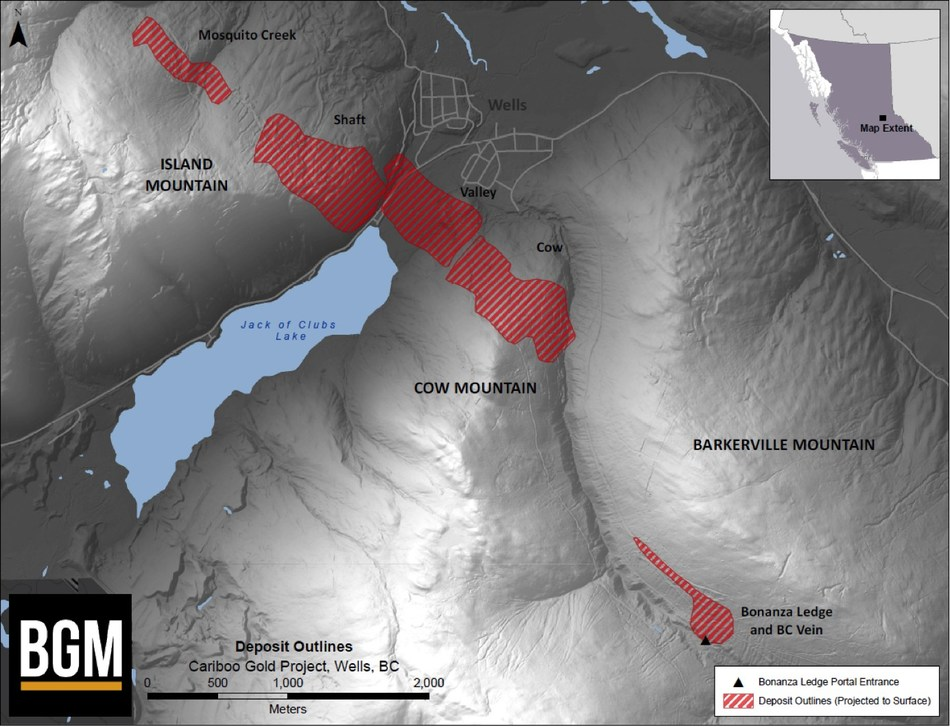 Figure 1: Plan Map Showing Modelled Vein Corridors on Island and Cow Mountains (CNW Group/Barkerville Gold Mines Ltd.)