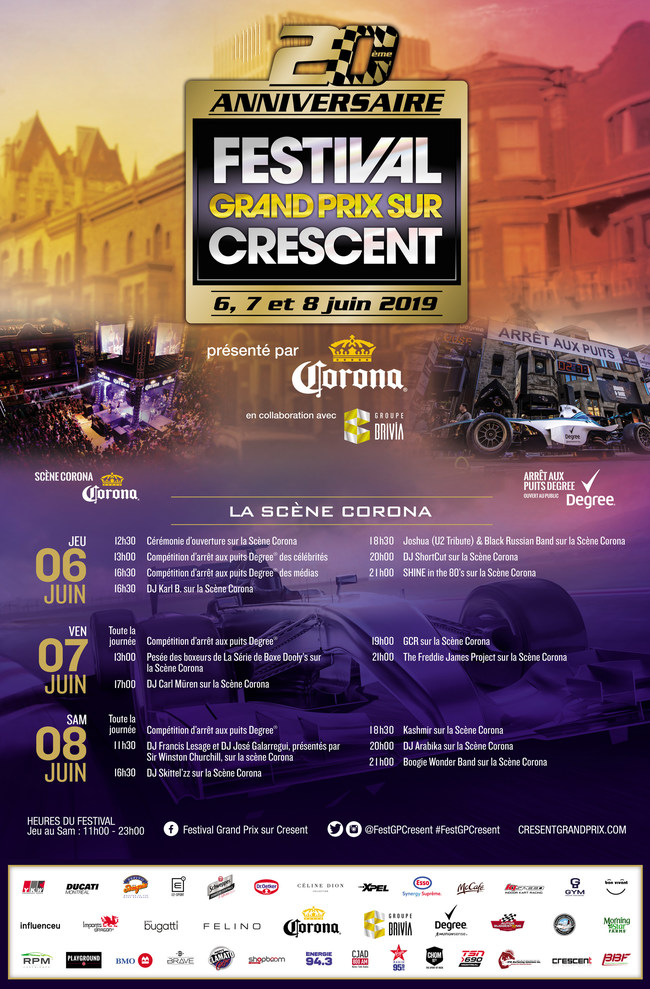 Crescent Street Grand Prix Festival 2019 (CNW Group/Crescent Grand Prix Festival)