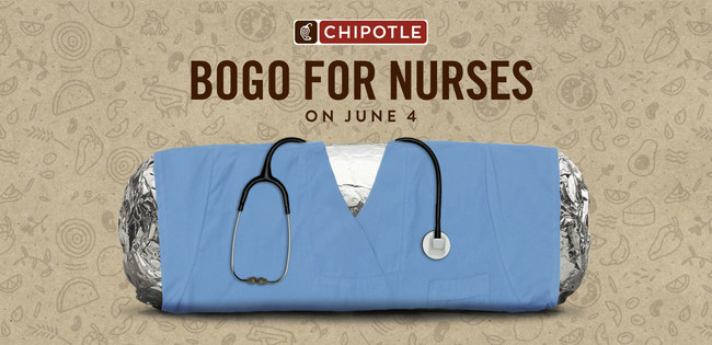 Chipotle Mexican Grill is offering a special, one day, buy-one-get-one free (BOGO) on Tuesday, June 4, 2019 to honor nurses across the country.