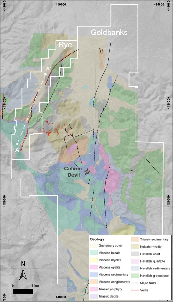Figure 1 – Geological map of Goldbanks and Rye Properties (CNW Group/Premier Gold Mines Limited)