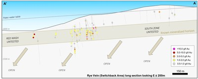 Figure 2 – Longitudinal view of the Rye Vein looking East presenting the historical drill holes (CNW Group/Premier Gold Mines Limited)