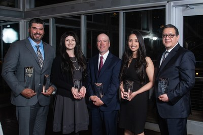 2018 SCI Service Excellence Award honorees from around the country gathered in Houston, Texas for a dinner where SCI and Dignity Memorial leadership presented their awards. (Left to right: Anthony Casio, Grounds Specialist, Pierce Brothers Westwood Village Memorial Park & Mortuary, Los Angeles, California; Sarah Walton, Family Service Counselor, Keaton's Redwood Chapel of Marin, Novato, California; Shawn Leader, Cemetery Maintenance Specialist, Lincoln Memorial Cemetery, Lincoln, Nebraska; Julie Tran, Location Manager, Cypress View Mausoleum, Mortuary and Crematory and Goodbody Mortuary, San Diego, California; Elias Estrada, Financial Planning and Analysis Director, SCI Headquarters, Houston, Texas)