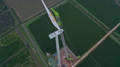 Zoomlion instala la hélice más alta de China y rompe el récord de dos semanas atrás (PRNewsfoto/Zoomlion)
