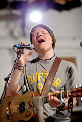 Ed Sheeran playing at Abbey Road Studios