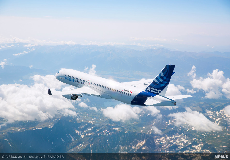 The Airbus A220-300 in flight. (CNW Group/Airbus)