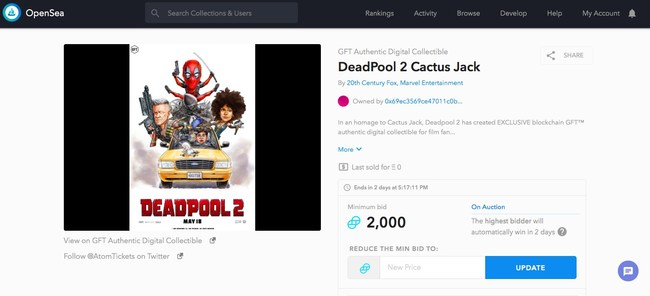 """Fox Filmed Entertainment's """"Deadpool 2"""" Cactus Jack assets. Posted by a fan on OpenSea.io"""